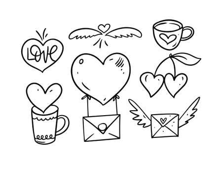 Love elements collection. Hand drawing style. Outline vector illustration. Vettoriali
