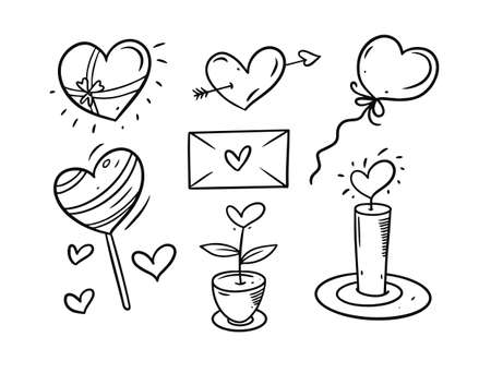 Valentines day black and white elements set. Hand drawing vector illustration.