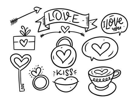 Valentines day set. Outline vector illustration. Isolated