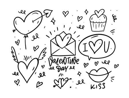 Love elements set. Valentine day. Holiday vector illustration.