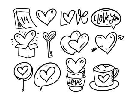 Hand drawing black and white love elements. Vector illustration.