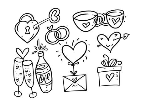 Valentine Day holiday black and white color set. Hand drawing style. Vettoriali