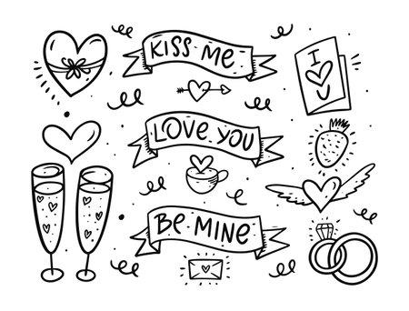 Doodle Valentine Day set. Engraving vector illustration.