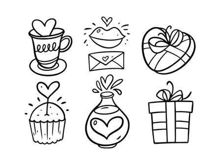 Valentines Day doodle set. Black and white colors vector illustration. Иллюстрация