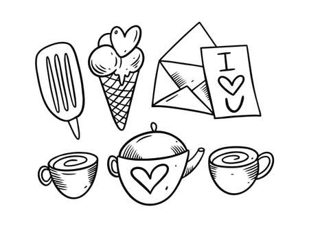 Love doodle set elements. Teapot, tea, ice cream and letter. Sketch vector illustration.