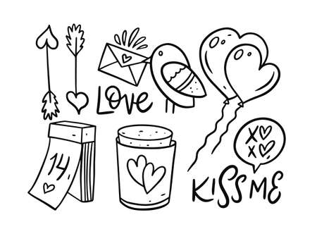 Valentines Day doodle set elements. Bird with letter, ballon, lettering, date and arrows.