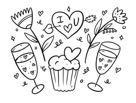 Valentines Day vector illustration set elements. Black color sketch style. Flowers, cupcake, champagne and heart.