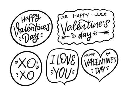 Valentines Day lettering phrases set. Black and white colors vector illustration. Vettoriali
