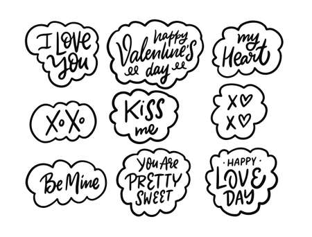 Valentines Day and Love day. Calligraphy phrases. Black and white vector illustration. Vettoriali