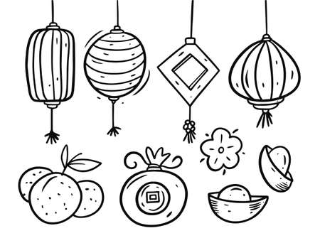 Chinese New Year doodle elements set. Black and white colors vector illustration. Vettoriali
