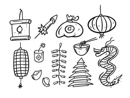 Chinese New Year many elements. Black color cartoon style. Sketch vector illustration.