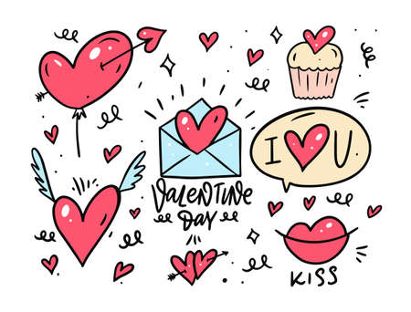 Valentines Day doodle set elements. Colorful cartoon style. Sketch vector illustration.