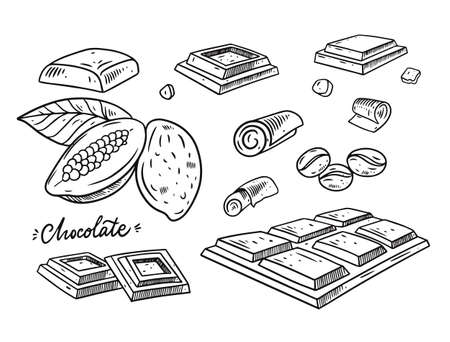 Chocolate hand draw sketch vector illustration. Engraving style. Black color.