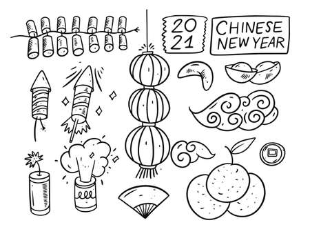 Hand draw Chinese New Year black color elements. Sketch style vector illustration.