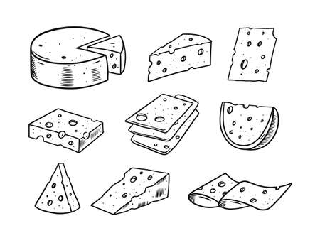 Cheese hand draw set. Black and white colors. Engraving style. Vettoriali
