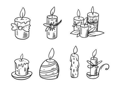 Hand drawing candles set. Black and white colors. Engraving style.