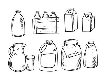 Milk package. Bottle, jar, pack. Black and white color vector illustration.