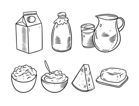 Milk product set. Hand drawing sketch vector illustration. Black color engraving style. Vettoriali