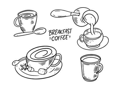 Breakfast coffee. Hand draw black color. Vector illustration. Sketch style.