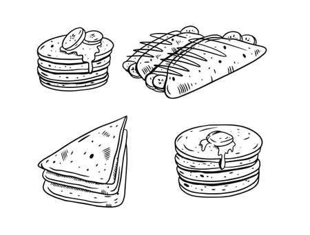 Breakfast pancakes. Hand drawing black color vector illustration. Engraving style.