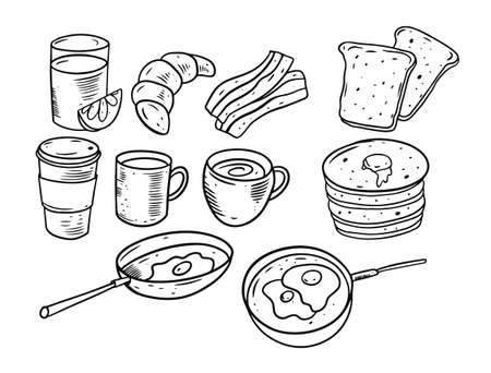 Breakfast products set. Hand drawing sketch vector illustration. Vettoriali