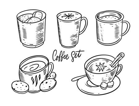 Winter coffee and tea set. Hand draw vector illustration. Black color. Vettoriali