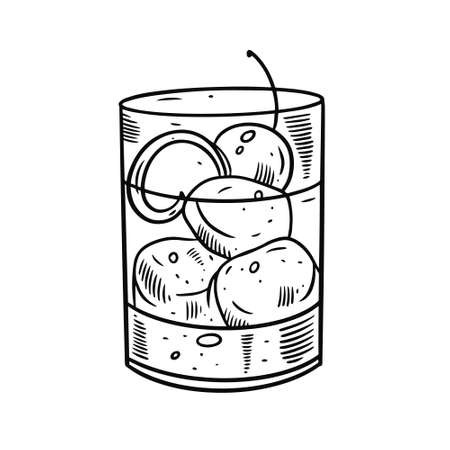 Hand draw alcohol cocktail with orange zest, ice cube and cherry bar. Black color engraving style.