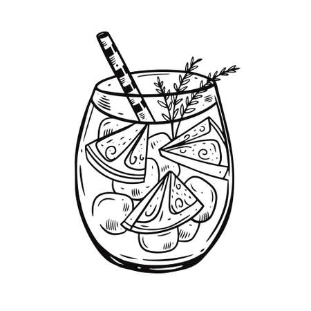 Hand drawing cocktail with lemon slice and rosemary. Black color engraving style. Fresh summer drink.