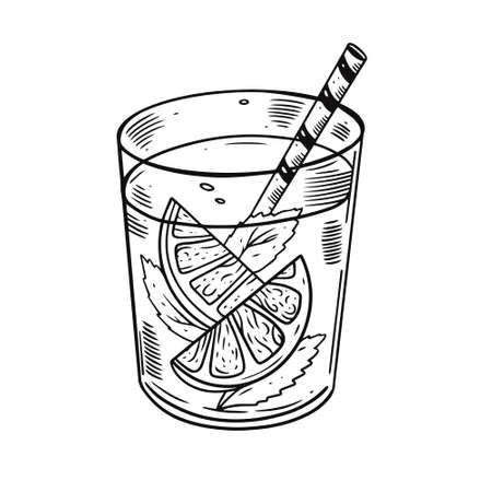 Hand draw cocktail with orange and mint. Black color engraving style.