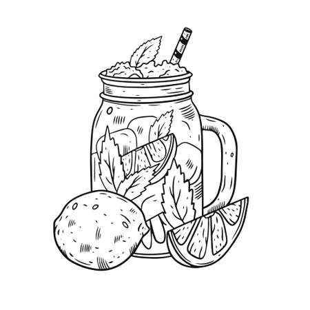 Hand draw cocktail in jar with lemon. Black color engraving style. Fresh summer drink. 일러스트