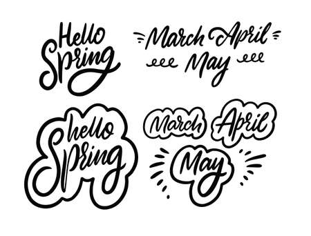 Hello Spring and names months. Black color calligraphy signs. Vector illustration. 일러스트