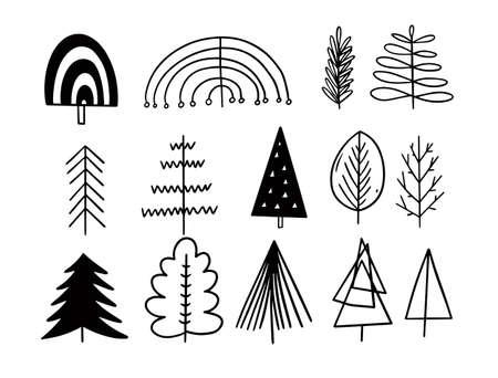 Hand draw doodle trees set. Black color vector illustration. 일러스트