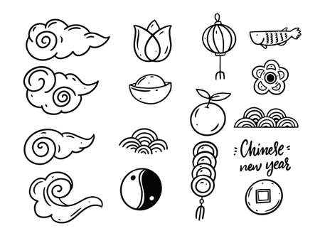 Hand draw Chinese new year doodle elements set. Black color decoration objects. 일러스트
