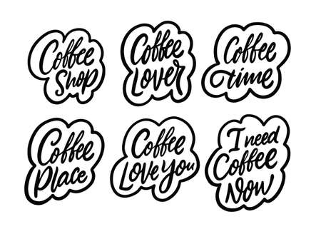 Coffee phrases set. Black color stickers calligraphy. Vector illustration signs.