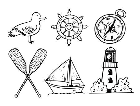 Graphic style doodle sea objects set. Black ink vector illustration.