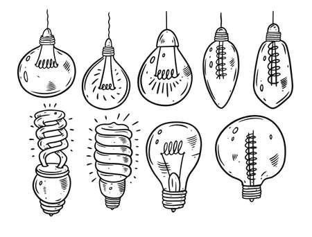 Light bulbs hand draw doodle set. Cartoon style. Black color vector illustration.