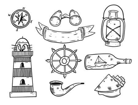 Hand draw doodle sea elements set. Black color vector illustration. 일러스트