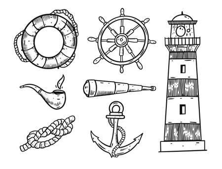 Sea elements set. Black color vector illustration.