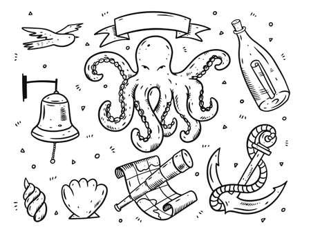 Doodle style sea elements set. Black ink cartoon vector illustration.
