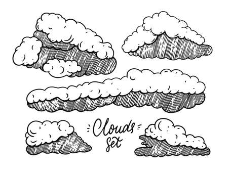 Hand draw clouds doodle set. Engraving style vector illustration. Black color.