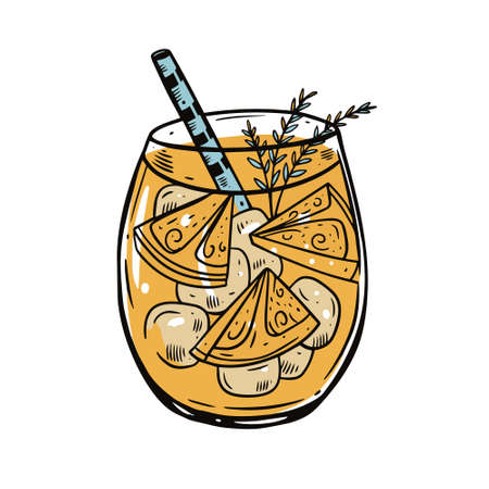 Colorful orange cocktail with cube ice and rosemary. Hand drawing sketch vector illustration.