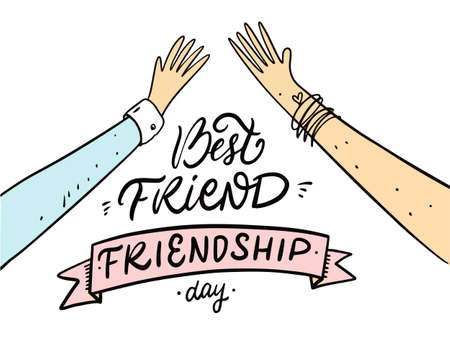 Best friend. Friendship day holiday phrase. Hand drawn cartoon vector illustration. Stockfoto - 162329477