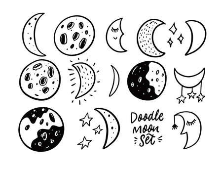 Hand drawn Moon doodle set. Black and white colors. Vector illustration. Stockfoto - 162329495