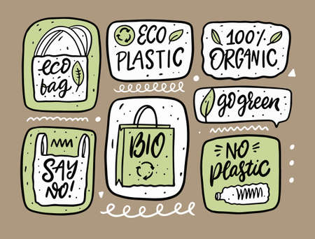 Eco, Organic and Natural doodle set elements. Hand drawn cartoon style. Stockfoto - 162794322