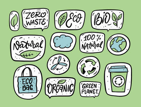 Zero Waste and ecological phrase and doodle elements. Hand drawn vector illustration.