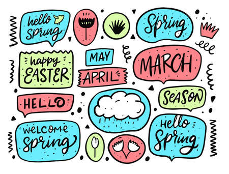 Hello spring bubble speech set. Doodle elements. Hand drawn vector illustration. Vectores