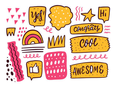Abstract shapes and phrases doodle elements set. Hand drawn comic vector illustration. Vectores