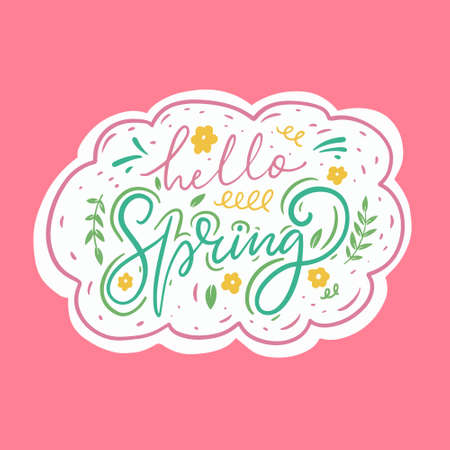 Hello Spring hand drawn calligraphy. Doodle cartoon style.