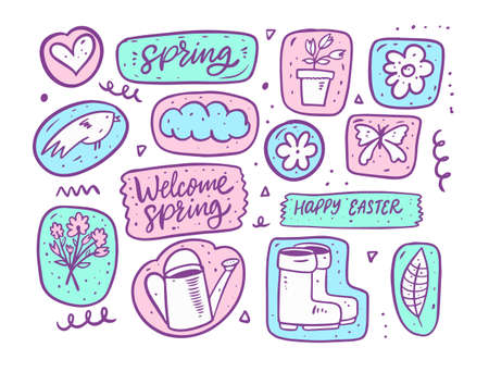 Spring season doodle set elements. Hand drawn cartoon style.