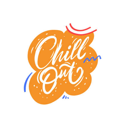 Chill Out hand drawn colorful calligraphy phrase. Stock vector illustration. Vectores